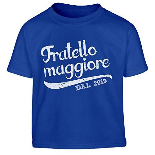Shirtgeil Fratello Maggiore dal 2019 - Idea Regalo Maglietta per Bambini 8-10 Anni (130/140cm) Blu