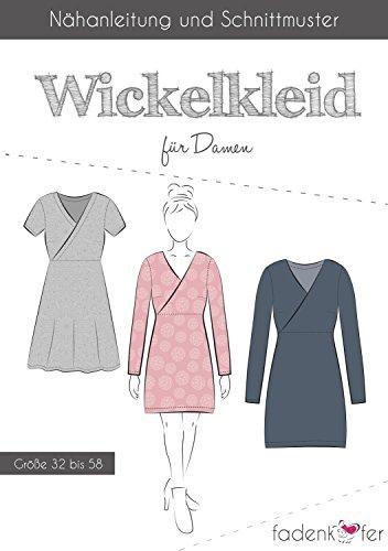 Stoffe Werning Schnittmuster Fadenkäfer Wickelkleid für Damen Gr.32 bis 58 Papierschnittmuster