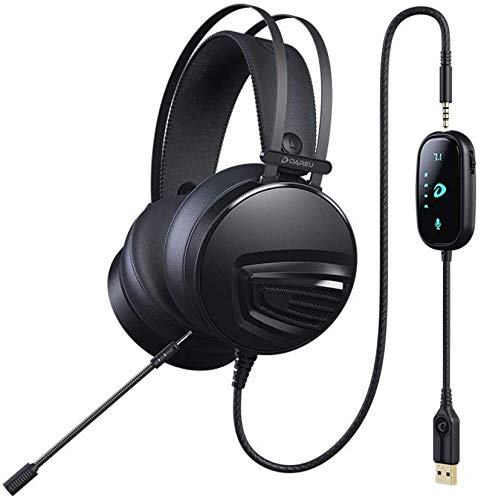 FHW PC 7.1 headset, hoofd-gemonteerd desktop gaming headset USB-kabel Bass stereo headset gaming esports microfoon for PS4 Xbox One PC koptelefoon