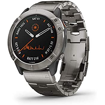 Garmin fenix 6X Pro Solar, Premium Multisport GPS Watch with Solar Charging, Features Mapping, Music, Grade-Adjusted Pace Guidance and Pulse Ox Sensors, Titanium