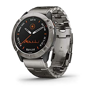Garmin fenix 6X Pro Solar, Premium Multisport GPS Watch with Solar Charging, Features Mapping, Music, Grade-Adjusted Pace Guidance and Pulse Ox Sensors, Titanium (B07W69L48P) | Amazon price tracker / tracking, Amazon price history charts, Amazon price watches, Amazon price drop alerts