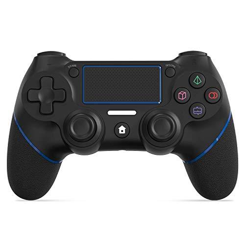 【2021年最新型】PS4 コントローラー 600mAh容量バッテリー Bluetooth接続 振動機能 重力感応 高耐久ボタン ゲームパット イヤホンジャック 最新バージョン対応 DUALSHOCK 4代用 日本語説明書付き(ブラック)