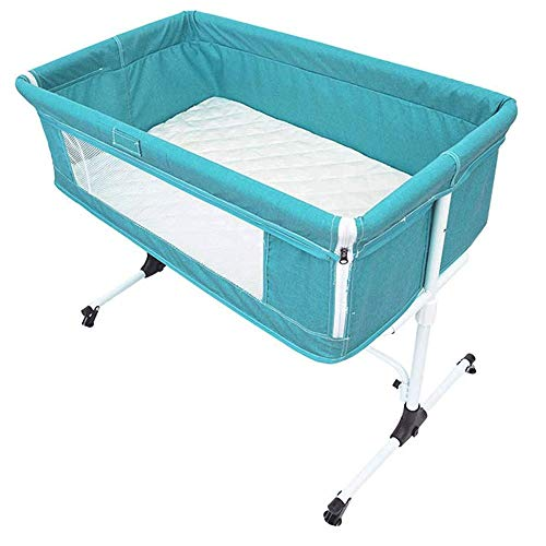 Reisbedje Portable pasgeboren baby, Bedside kinderbedje for baby's, opvouwbare wieg Zij aan zij Sleeper Crib Travel Cot Inclusive Matras (Color : Blue)