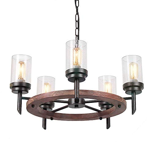 Eumyviv 17803 5-Lights Annular Metal Wood Pendant Lamp with Glass Shade Retro Rustic Chandelier Edison Vintage Decorative Ceiling Light Fixtures Hanging Light Luminaire