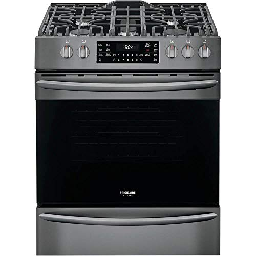 """Frigidaire FGGH3047VD 30"""" Gas Front Control Freestanding Range Airfry Convection ADA - Smudge Proof Black Stainless"""