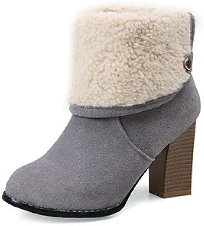XZZ  Damen-Stiefel-Kleid-Kunstleder-Blockabsatz-Modische Stiefel-Schwarz   Grau   Mandelfarben