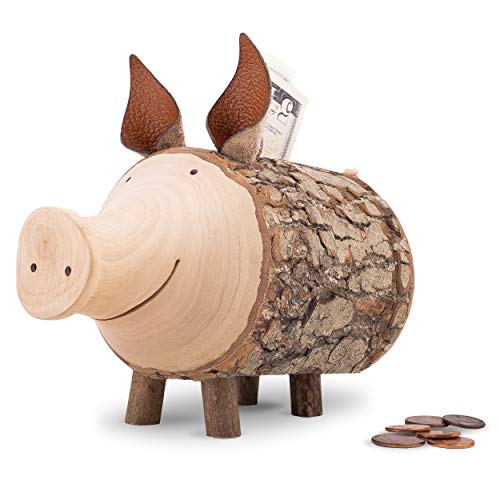 Forest Decor Wood Piggy Bank, Handcrafted Money Savings Bank, Coin Piggy Bank for Adults and Kids, Pig Decor, Woodland Nursery Decor, Cute (Large)