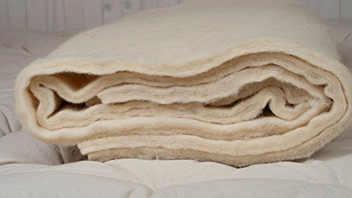 """Pure New Wool Batting/Oeko-TEX Certified/by The Yard or Meter/Lenght: 100 cm (40"""") / Width: 220 cm (86.5"""") / Very Thick: 720 g/m? Thickness: 2 cm (4/5 inch)"""