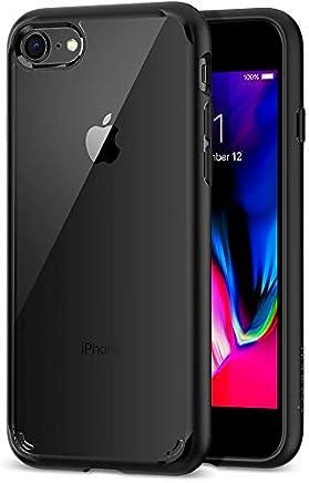 Spigen Coque iPhone 8, Coque iPhone 7 [Ultra Hybrid 2e Génération] AIR Cushion, Bumper Renforcé en TPU [Noir], Dos Transparent en PC, Protection Coin, Coque Etui Housse Compatible avec iPhone 8/7