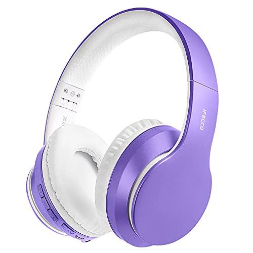 Auriculares Inalámbricos Bluetooth Diadema, Cascos Cerrados Inalambricos MicróFono Incorporado, Plegables Alta Fidelidad Estéreo Auriculares para PC/ MP3/Móviles/TV(Morado Claro)