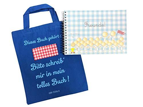 Cherry Picking Freundebuch Kindergarten Kindergartenfreunde Poesiealbum mit Tasche BLAU
