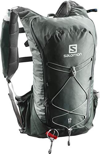 Salomon Leichter Lauf-Rucksack 12L, AGILE 12 SET, Grün/Grau, L40163600