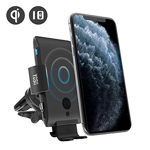 YOSH Kabelloses Auto Ladegerät, Qi 10W/7.5W Qi Schnellladung Automatisches Spannen Auto Entlüftung Halterung für Samsung Galaxy S9/S9+/S8/S8+/Note 8/5/ Apple iPhone 8/8 Plus/X/XS/Max/XR