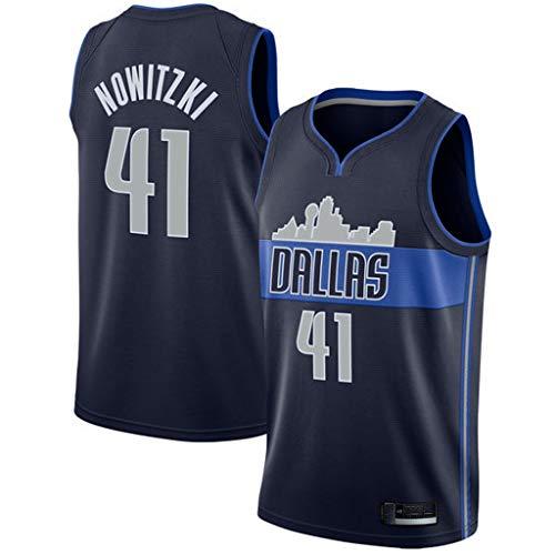 MHCA Basketball Trikot-Dirk Werner Nowitzki-Dallas Mavericks # 41Jersey, schwarzes Vintage-Trikot, Basketball Swingman Jersey Sportswear, 100% Polyester-XL