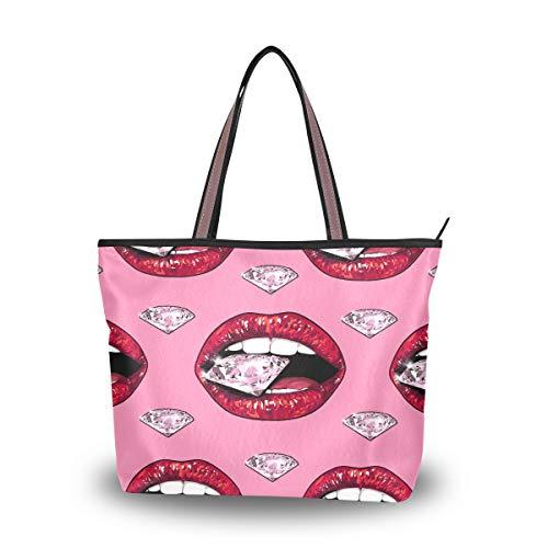 Bigjoke 3D-Handtasche für Damen, sexy Lippen-Muster, Handtasche mit Griff oben, Schultertasche, Mehrfarbig - mehrfarbig - Größe: Medium