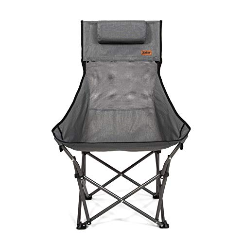 MacSports XP High-Back Folding Camping Chair   Outdoor Back/Lumbar Support, Lightweight (Weighs Under 6lbs), Heavy Duty (Supports 225lbs), for Camping Hiking Gaming Backpacking Sports Hunting (Gray)