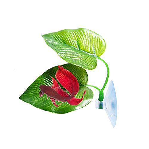 WE-WIN Betta Fish Leaf Pad Betta Bed Leaf Hammock Toys Plastic Aquarium Plants with Suction Cup