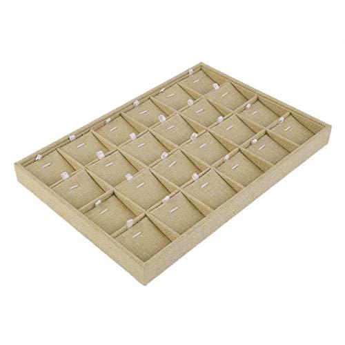 Caja de almacenamiento para joyas, 24 ranuras perfectas para pendientes, collar, pulsera, bandeja de exhibición de joyas, pulsera y joyería, color amarillo claro, 35 x 9 x 3 cm