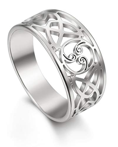 LIKGREAT Triskele Trinity Celtic Knot Rings Stainless Steel Band for Women (silver tone, 9)
