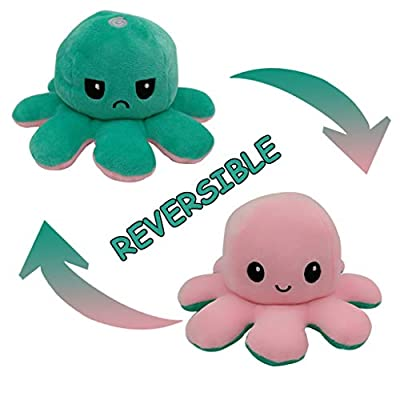 DELEVENYE Cute Octopus Plush Toys Double-Sided Flip Octopus Plush Toy Reversible Lovely Octopus Stuffed Animals Doll Creative Toys Show Your Mood with Emotion for Kids Boys Girls
