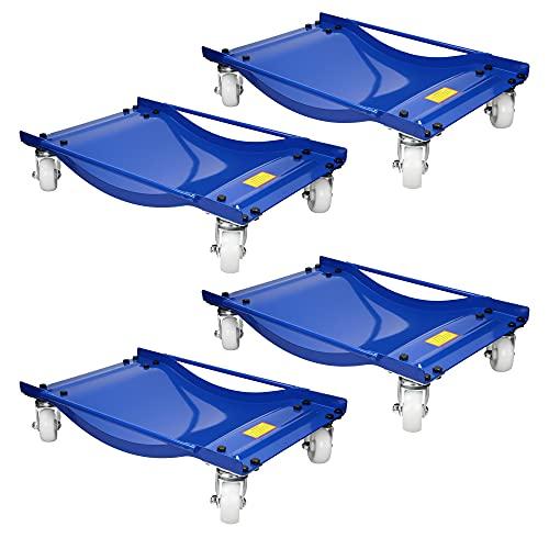 ECD Germany 4 Stück Rangierhilfe mit Rollen für PKW Auto Anhänger, aus Stahl, Tragkraft 1800 kg, robust, Blau, Rangierroller Rangierheber Rangierwagenheber Wagenheber Transportschale Rangierschale