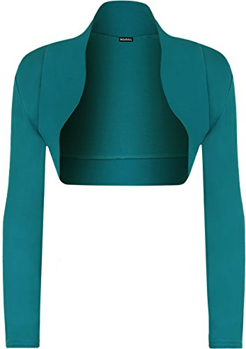WearAll - Damen Bolero Langarm Top - Teal - 36-38