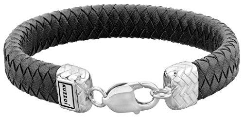 Kuzzoi Herren Lederarmband/Herrenarmband schwarz mit Verschluss aus 925 Sterling Silber, Länge 21 cm, 235011-021