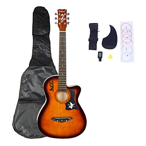 YZG LIFE 38'' Wood Guitar, Acoustic Guitar with Bag Straps Picks LCD Tuner Pickguard String Set for Beginners Kids Boys Girls Teens