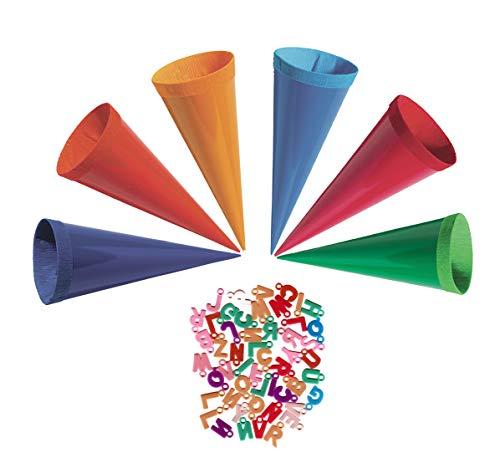 30 STK. Schultüte 12 cm - rund - Geschenktüte klein Dekoration Zuckertüte Deko für Schulanfang Dekotüten 12cm mit Buchstaben