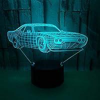 クリエイティブ3Dナイトライト夕食車フェラーリテーブルランプ7色変更デスクランプ3DランプノベルティLedナイトライトリビングルーム