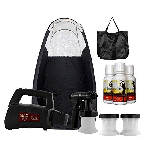 MaxiMist Lite Plus Sunless Spray Tanning KIT Tent Machine HVLP Airbrush Tan Maximist BLK