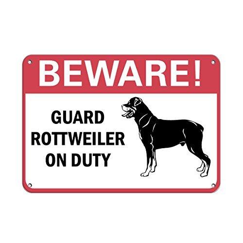 43LenaJon Beware! Guard Rottweiler On Duty Pet Animal Sign Plaque en aluminium métal pour l'extérieur Motif grotte