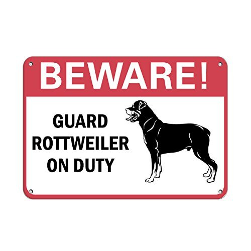 43LenaJon Beware! Guard Rottweiler On Duty Pet Animal Sign Plaque en aluminium métal pour l'extérieur Motif grotte