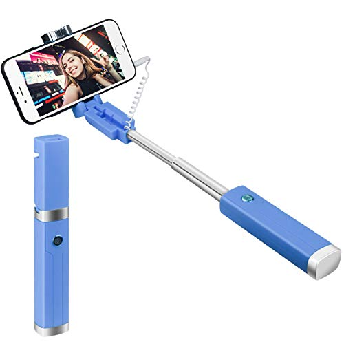 Selfie Stick, Mini Wired Selfie Stick for iPhone, Android Samsung Cell Phone-No Battery, No Apps, No Bluetooth, Lightweight Universal Selfie Stick