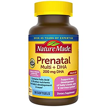Nature Made Prenatal Multivitamin with 200 mg DHA Multivitamin to Support Baby Development and Mom 90 Softgels 90 Day Supply