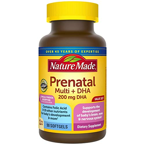 Prenatal Multi + DHA Softgels, Prenatal Vitamins & Minerals for Baby's Development & Mom's Nutritional Support, Clinically Proven Absorption of Folic Acid and Iron, 90 Count