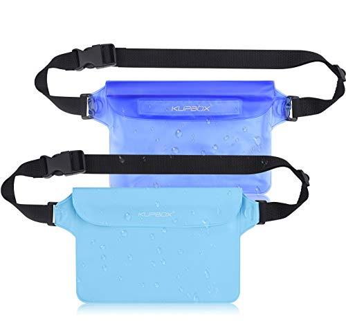 kupbox 2 Stück wasserdichte Tasche mit Verstellbarem Gurt wasserdichte Beutel,100% wasserdichte Handytasche Handyhülle Schutzhülle für Wassersport/Schwimmen/Bootsfahrten/Skifahren usw.blau+hellblau