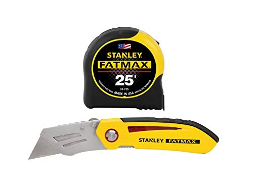 Stanley Tools FMHT71173D Fatmax 25ft. Tape Measure with Fixed Blade Folding Knife Combo Pack, Yellow/Black