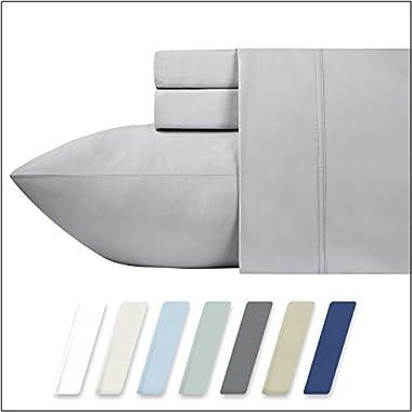 California Design Den 600 Thread Count 100% Cotton Sheets – Light Grey Long-staple Cotton King Sheets, Fits Mattress Upto 18'' Deep Pocket, Sateen Weave, Soft Cotton 4 Piece Bed Sheets Set