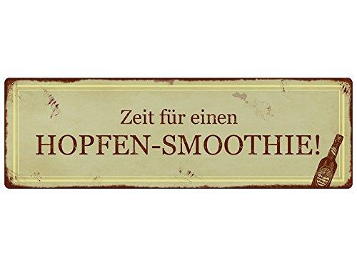 Interluxe METALLSCHILD Shabby Vintage Blechschild HOPFEN-Smoothie Alkohol Mann Bier