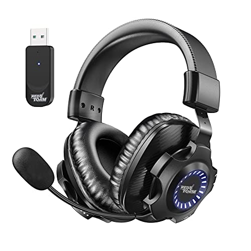 REDSTORM 2.4G Wireless PC Gaming Headset, Kabelloses Headset mit Abnehmbares...
