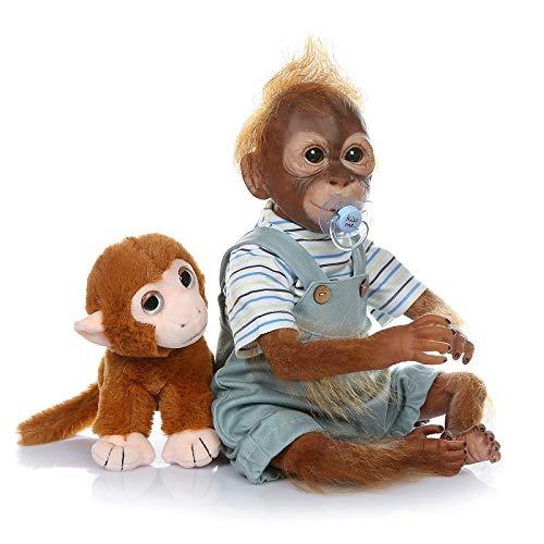 iCradle Muñeca Reborn Cuna Renace Mono Silicona Vinilo Muñeca 21 Pulgadas Bebé recién Nacido Muñeca Mira Reallife Piel de Mono Azul Los Mejores Regalos Sorpresa (21Inch-F)