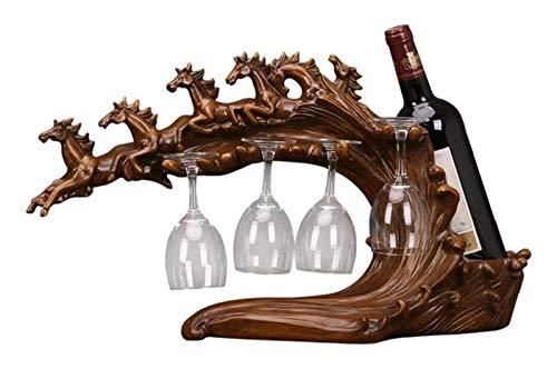 DZHTSWD Wine Wine Rack Running Horse Botella de vino Titular de la botella de vino Rack Rack de vino Tabla de vino Artículo de la casa Decoración portátil Estante de vino (Color: Marrón, Tamaño: Un ta