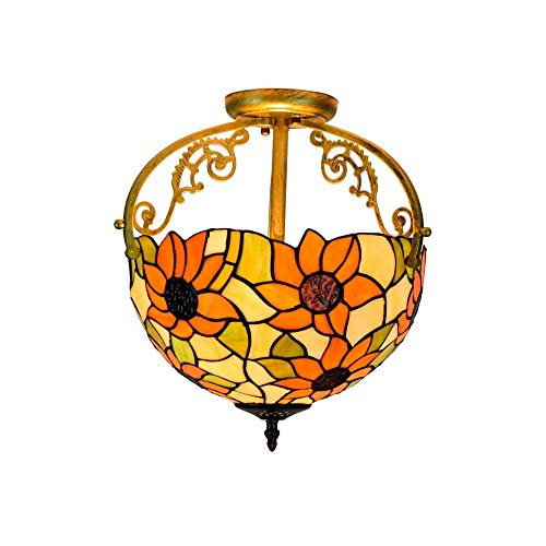 LKAIBIN Lámpara de techo de 30,5 cm, estilo Tiffany Sun Flower de cristal, lámpara de techo, lámpara colgante para sala de estar, pasillo, estilo Tiffany, lámparas de techo, candelabros