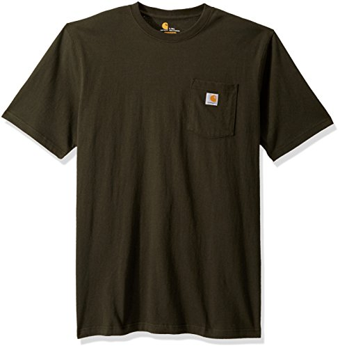 Original fit 6.75-ounce, 100 percent cotton Rib-knit crewneck Side-seamed construction minimizes twisting Left-chest pocket with sewn-on Carhartt label