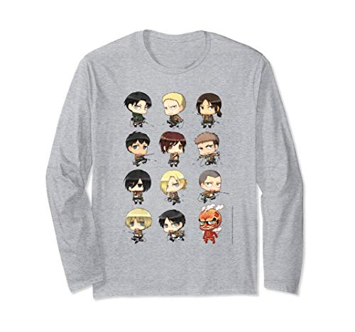 Attack on Titan Chibi All Characters Long Sleeve T-shirt