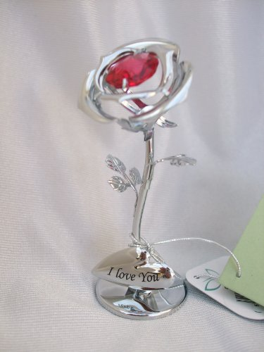 Crystocraft Freestanding Silver Plated I Love You Single Red Rose Ornament Made With Swarovski Crystals