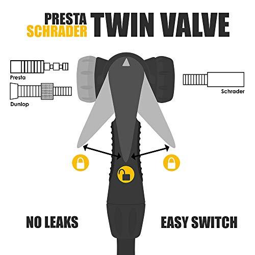 BV Bicycle Ergonomic Bike Floor Pump with Gauge & Smart Valve Head, 160 psi, Automatically Reversible Presta and Schrader