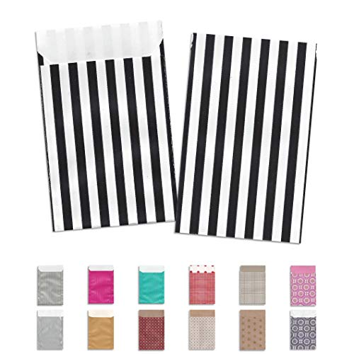 Flachbeutel schwarz-weiß gestreift Geschenktüten Papiertüten Papier-Beutel Party-Tüten (400, 7x9+2 cm)