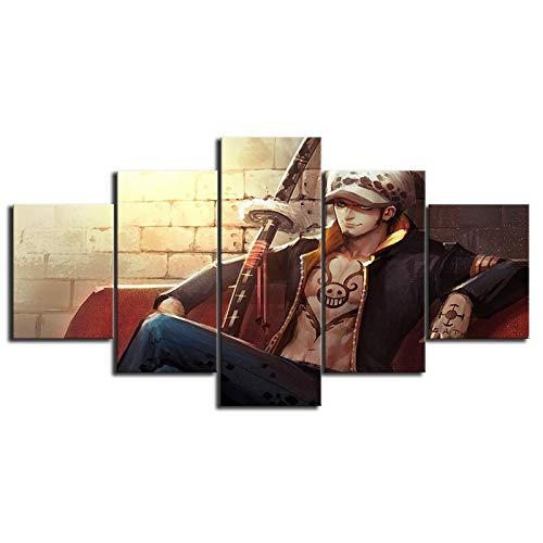 FFFZDCKAY Bilder 5-teilig Leinwandbilder Poster Moderne HD Gedruckt Anime One Piece Trafalgar Law Wandkunst Leinwandbilder Gemälde Wohnkultur